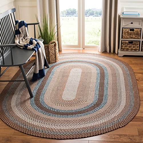 Safavieh Braided Collection BRD313A Hand Woven Brown and Multi Oval Area Rug 6 x 9 Oval