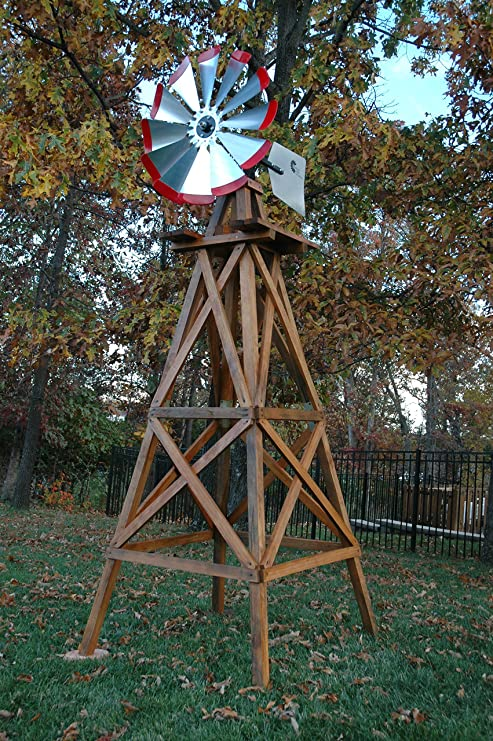 Outdoor Water Solutions Wooden Backyard Windmill