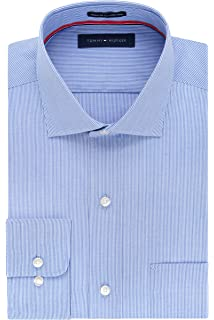 2097b53b5d6 Tommy Hilfiger Men's Non Iron Regular Fit Stripe Spread Collar Dress Shirt
