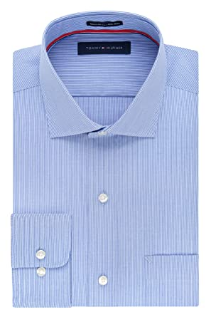 652a529f Tommy Hilfiger Men's Non Iron Regular Fit Stripe Spread Collar Dress Shirt  at Amazon Men's Clothing store: