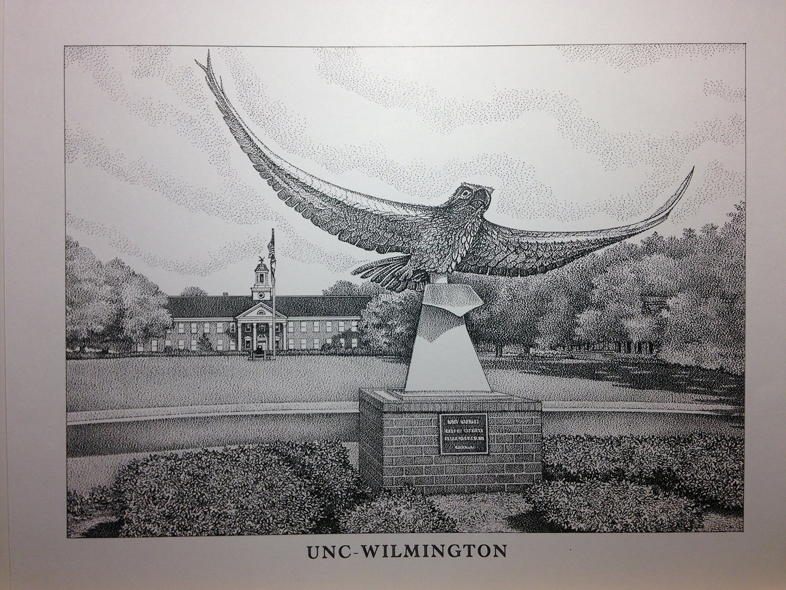 UNC-Wilmington 11''x14'' seahawk statue pen and ink print
