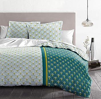 LOUXOR Vert Emeraude 100/% Coton Parure de lit de Housse de Couette 57 Fils 240x260 cm 3 Pi/èces 2 Personnes Home Linge Passion