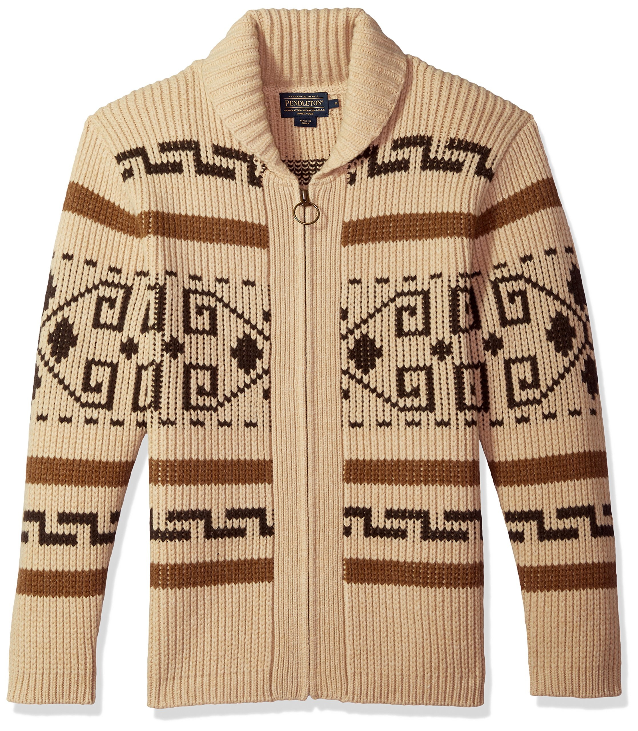 Pendleton Men's Original Westerley Sweater Tan/Brown Large