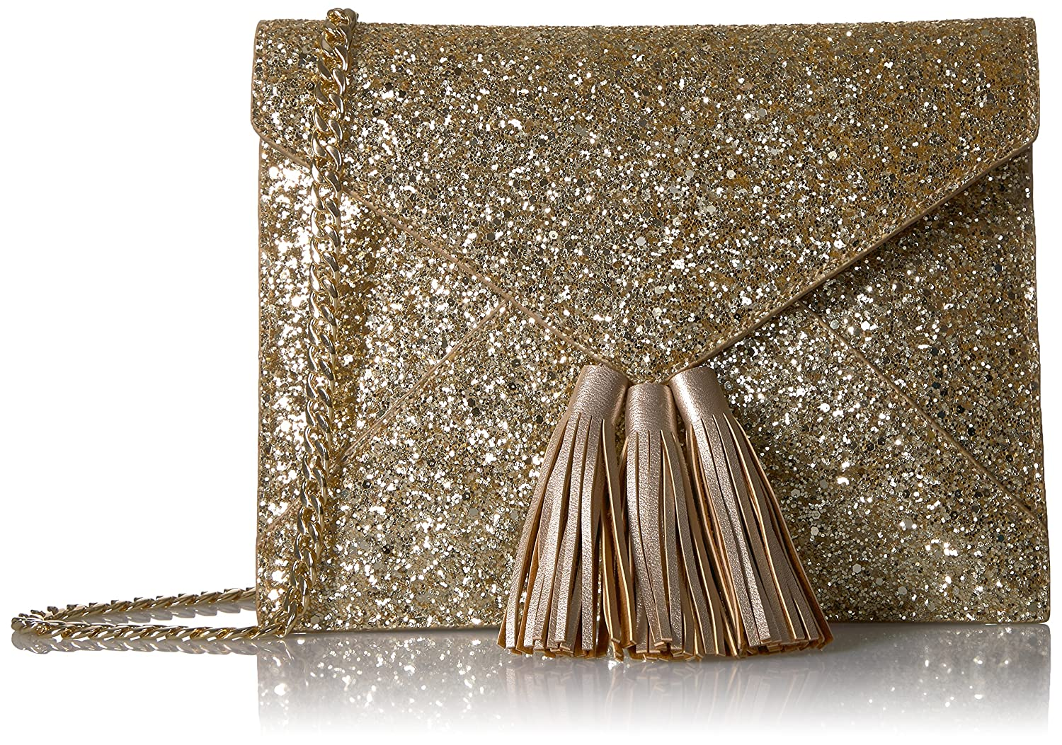 The Fix Izzi Glitter Envelope Clutch with Chain Crossbody Strap Aurora Blush GH24218_V2