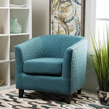 Kasey Dark Teal Harlequin Pattern Fabric Club Chair
