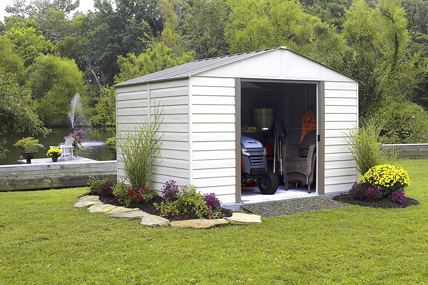 wood vinyl tool storage sheds leonie shed woodol outdoor lowes garden