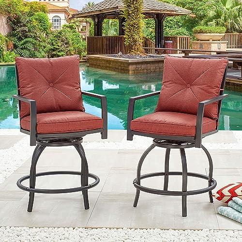 LOKATSE HOME Patio Stools Outdoor Swivel Bar Height Chairs Set of 2