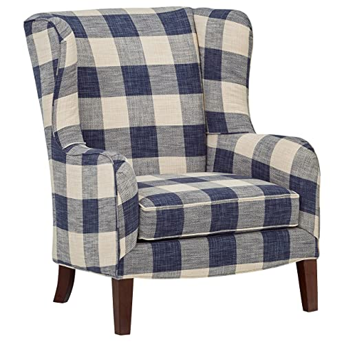 Stone Beam Sadie Blue Plaid Living Room Wingback Accent Chair, 33 W, Indigo
