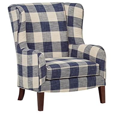 Stone & Beam Sadie Blue Plaid Living Room Wingback Accent Chair, 33 W, Indigo