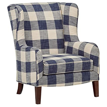 Surprising Stone Beam Sadie Blue Plaid Living Room Wingback Accent Chair 33W Indigo Squirreltailoven Fun Painted Chair Ideas Images Squirreltailovenorg