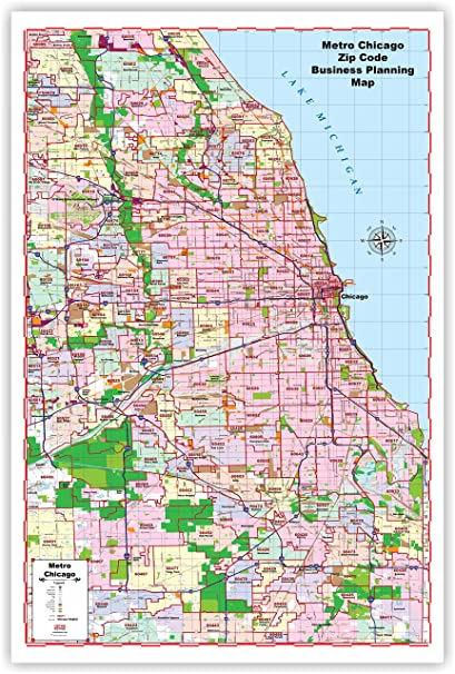 Chicago Area Zip Code Map Amazon.: ProGeo Maps   Planner's Wall Map of Chicago