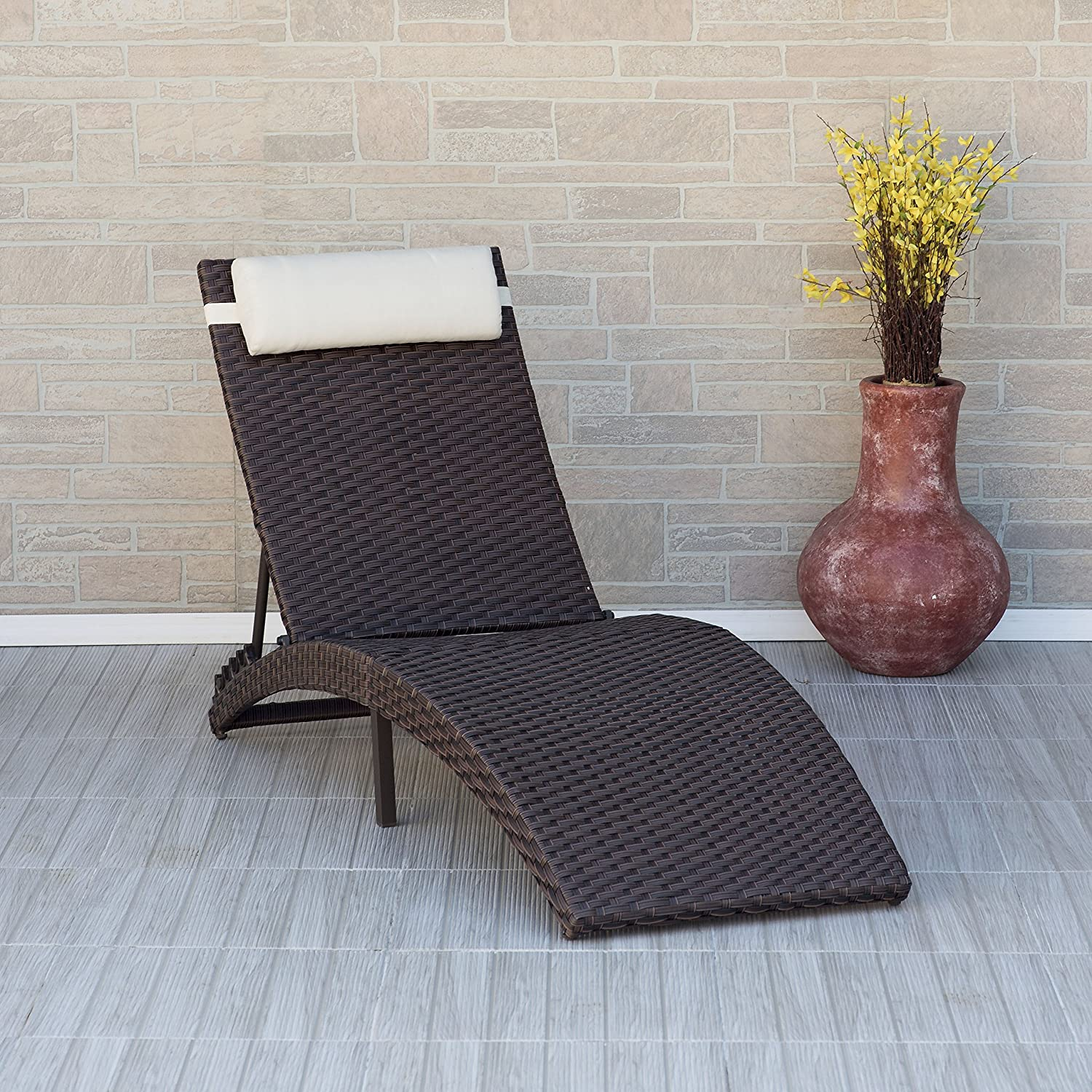 Atlantic Wicker Folding Chaise Lounger, Brown