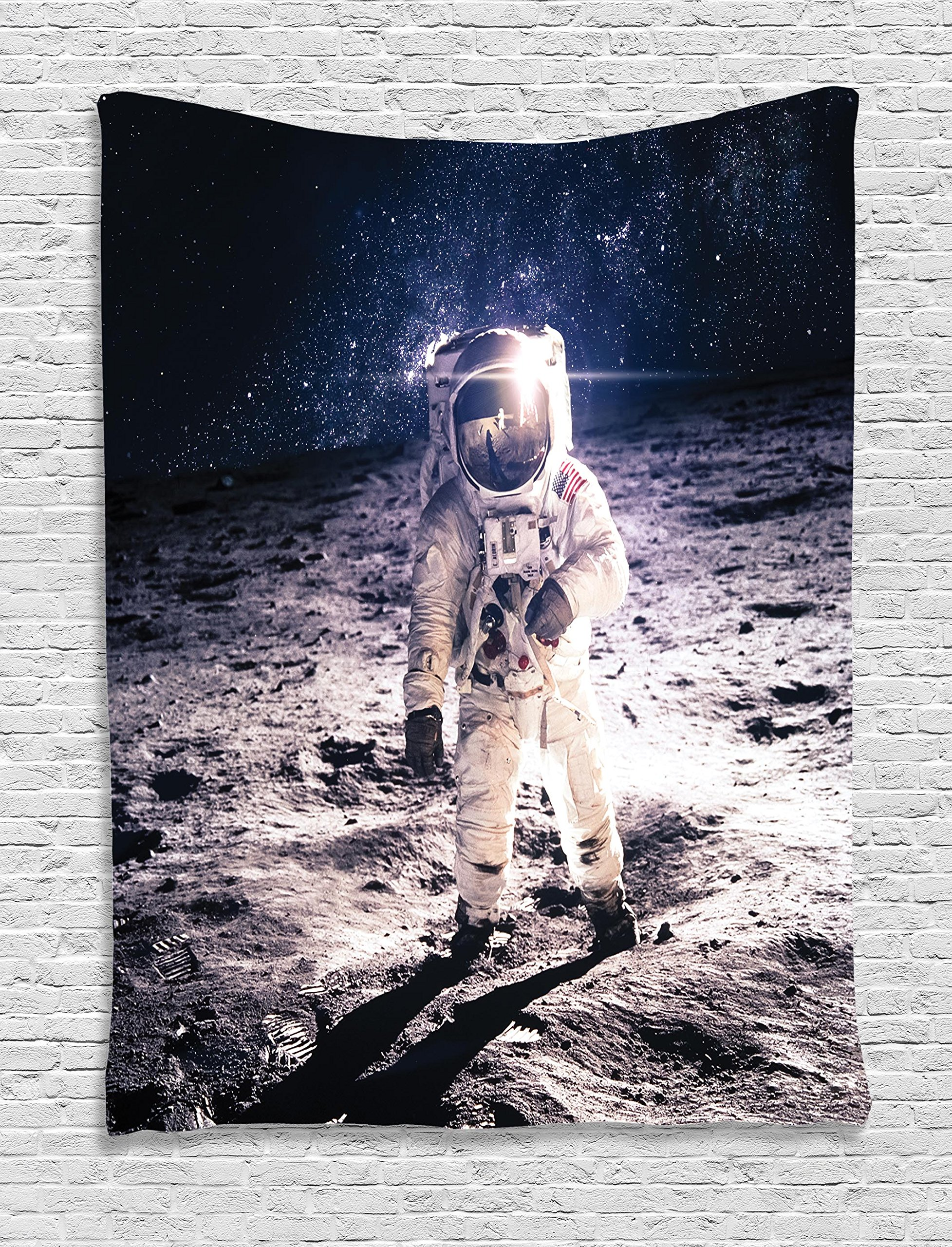 Ambesonne Outer Space Decor Tapestry, Moon Spaceman on Surface of Orbit Background Cosmos Galaxy Solar Photo, Wall Hanging for Bedroom Living Room Dorm, 60 W x 80 L inches, Brown Blue