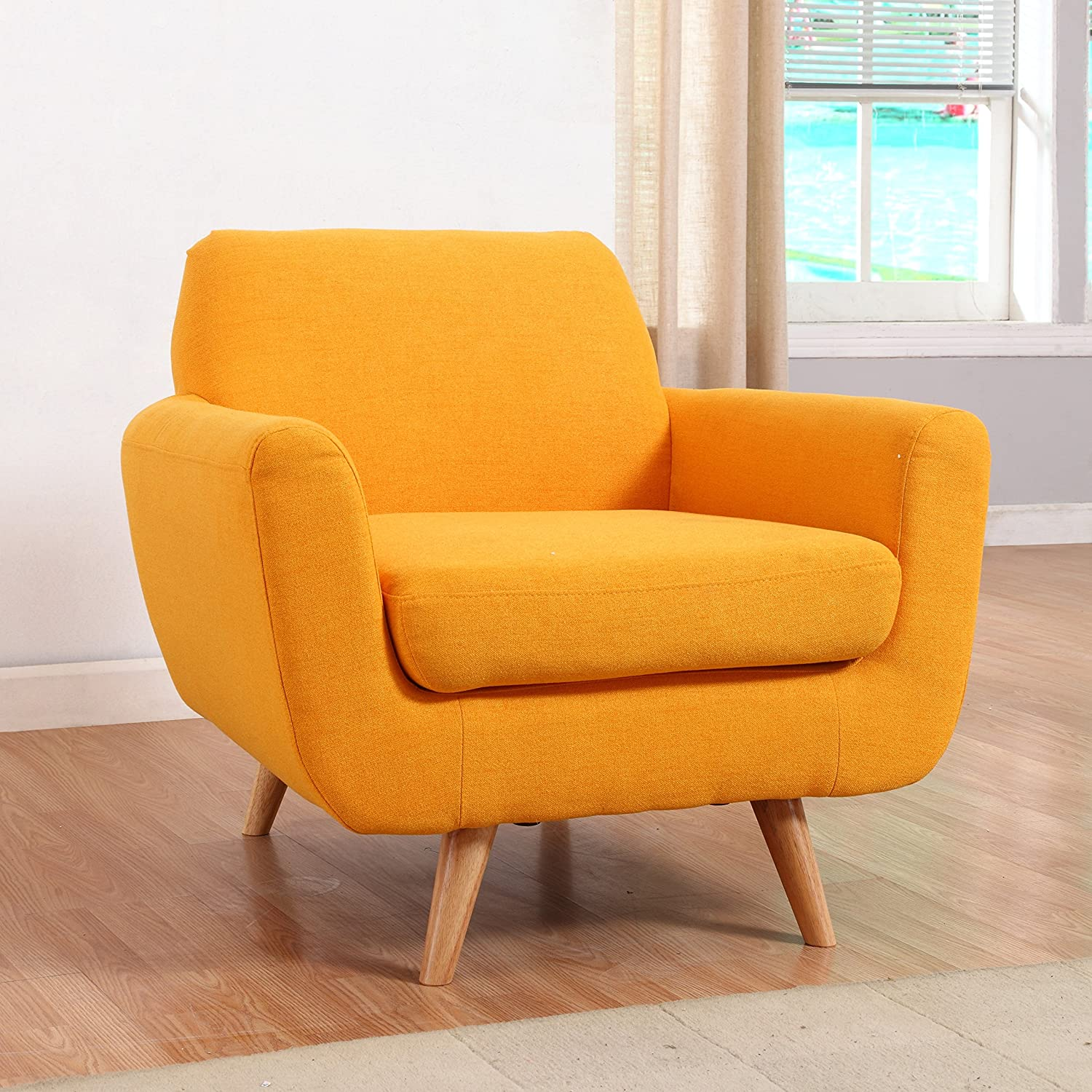 Mid Century Modern Linen Fabric Living Room Accent Chair