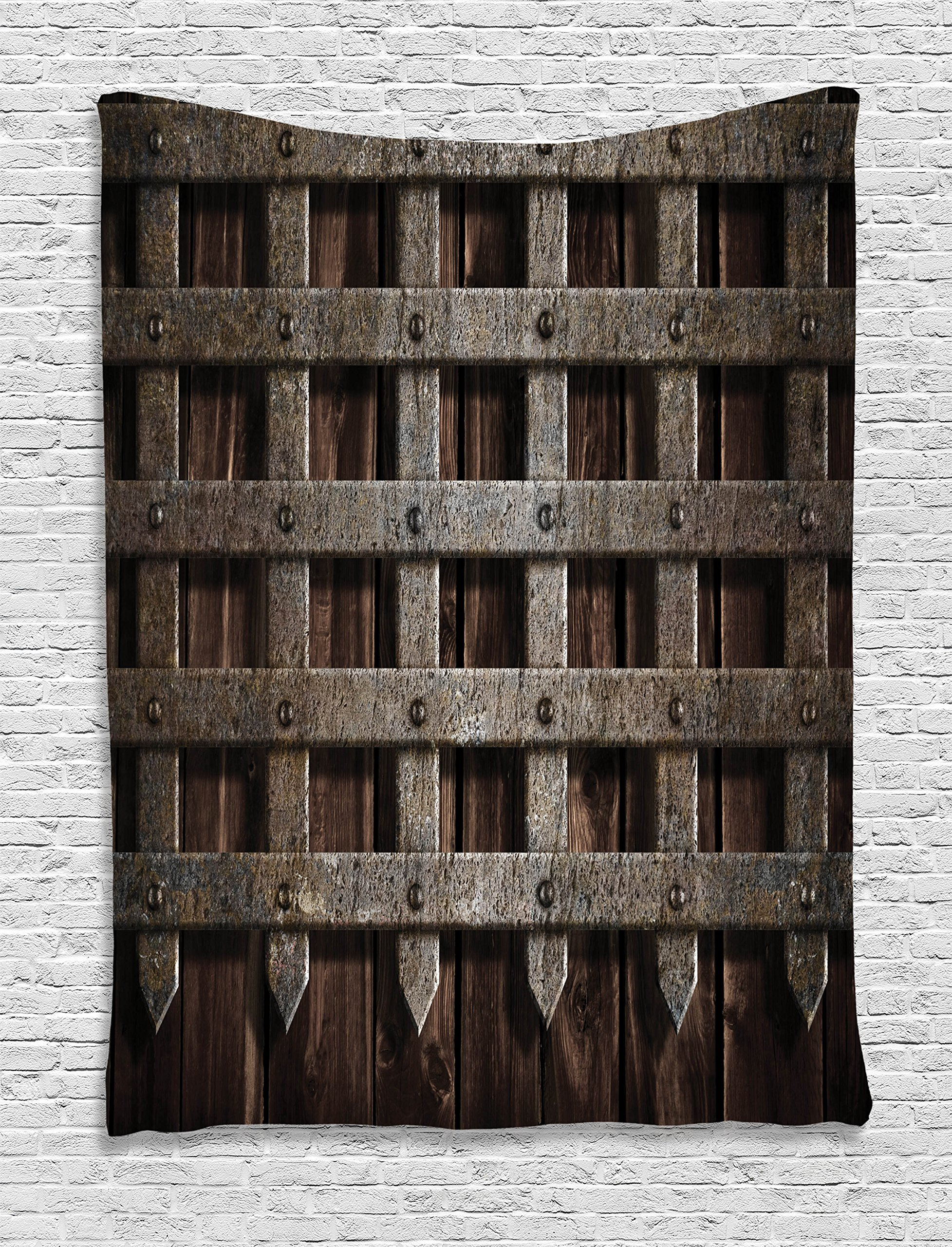 Medieval Decor Tapestry by Ambesonne, Medieval Wooden Castle Wall Metal Gate Greek Mid-century Design Art Print, Wall Hanging for Bedroom Living Room Dorm, 40 X 60 Inches, Dark Wood