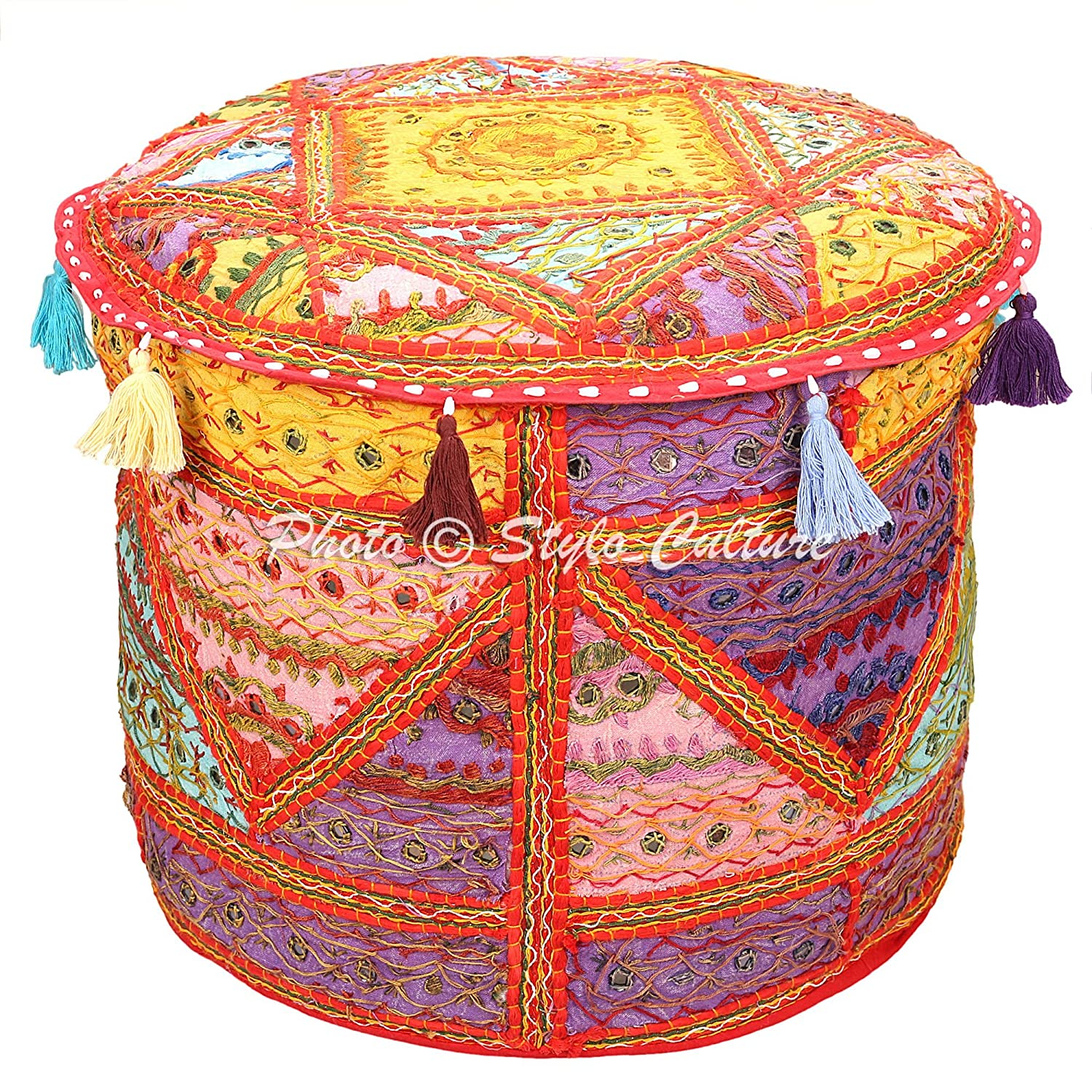 Stylo Culture Indian Vintage Pouf Ottoman Foot Stool Cover Round Embroidered Mirror Patchwork Pouffe Ottoman Cover Multicolored Cotton Traditional Furniture Footstool Seat Puff Cover (18x18x13) SC-POUF00062