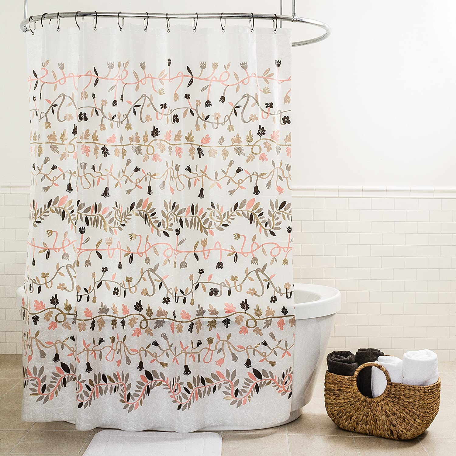 Splash Home Peva 4G Ivy Shower Curtain Liner Design For Bathroom Showers And Bathtubs