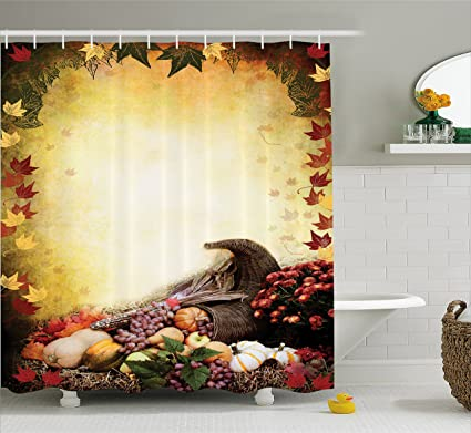 Ambesonne Harvest Shower Curtain Autumn Themed Image Pale Colored Background Vegetables In Cornucopia Illustration