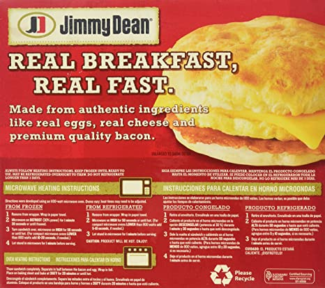 Jimmy Dean Bacon Egg Cheese Biscuit Sandwiches 4 Count Frozen
