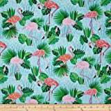 Kaufman Flamingo Paradise Flamingos Aqua Fabric By The Yard