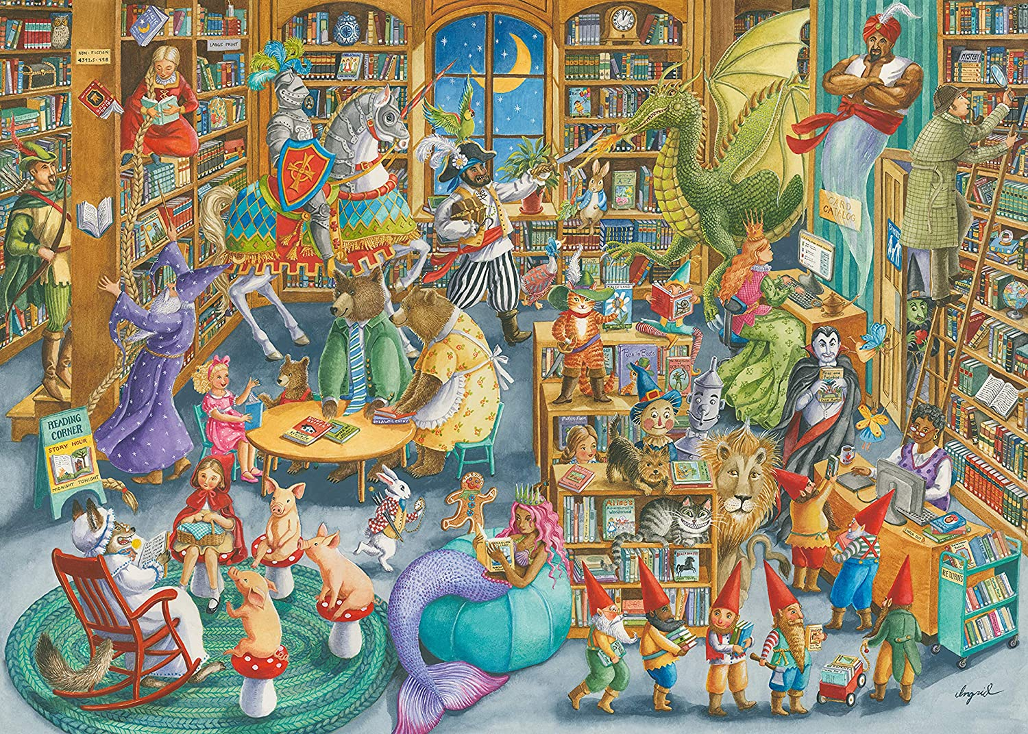 Ravensburger 16455 Midnight at The Library 1000 Piece Puzzle for Adults - Every Piece is Unique, Softclick Technology Means Pieces Fit Together Perfectly