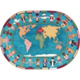 78 x 109 Multicolored Joy Carpets Kid Essentials Early Childhood Oval Hands Around The World Rug