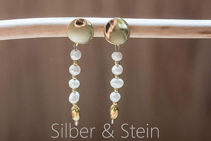 Lange Perlen Ohrringe gold mit Süßwasser Perlenhochwertig