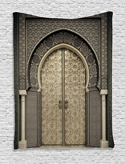 Amazon Com Gray Tapestry Art Decor Collection Aged Gate Moroccan