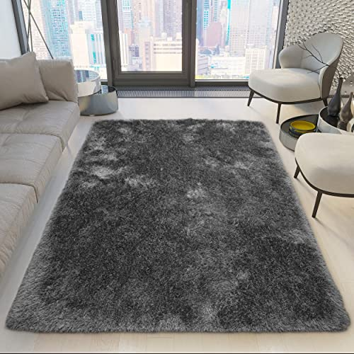 8×10 Feet Large Modern Contemporary Charcoal Dark Gray Dark Grey Color Solid Area Rug Carpet Rug Bedroom Living Room Indoor Shag Shaggy Canvas Backing Plush Pile Office Space Fluffy Fuzzy Furry