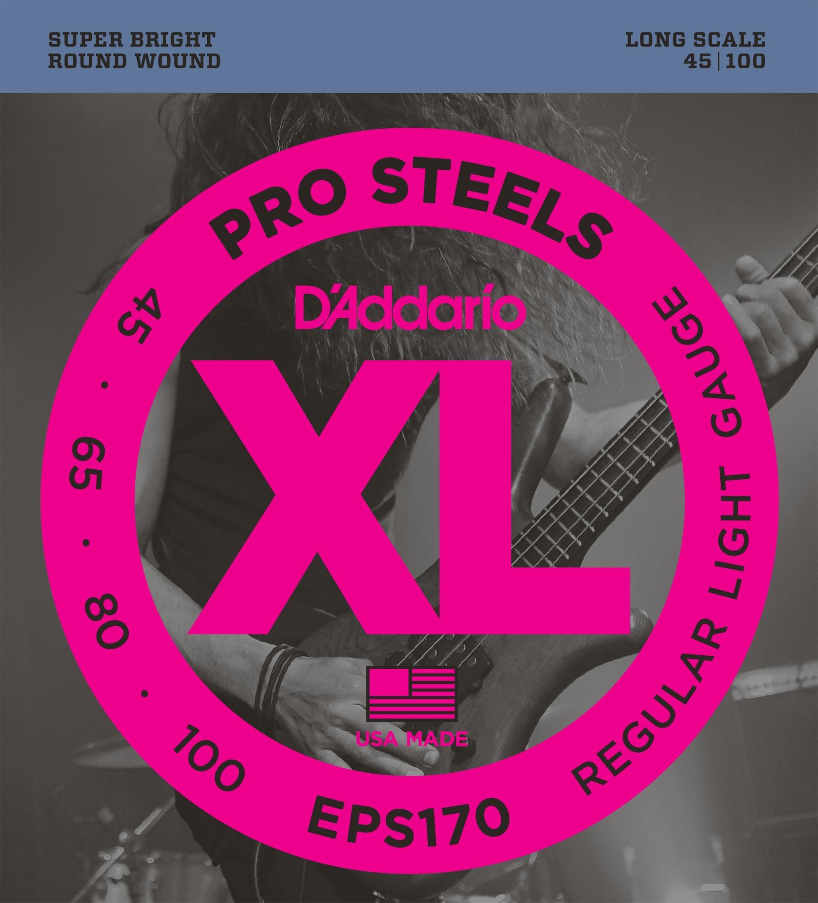 DAddario EPS170 - Juego de cuerdas para bajo eléctrico de acero.045 -