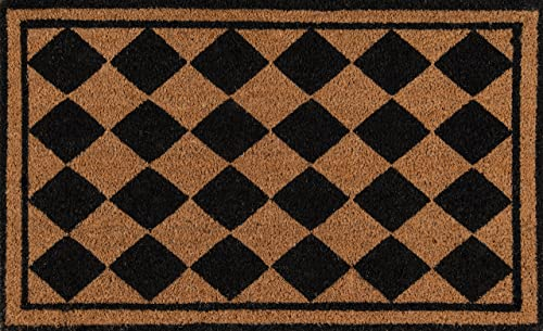 Erin Gates by Momeni Park Harlequin Black Hand Woven Natural Coir Doormat 1 6 X 2 6