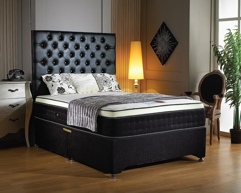 30,48 cm Luxury deep (12 2000-Materasso in memory foam, molle insaccate con 2 drawrers ciniglia base divano, colore: nero e testata design, Tessuto, come nell'immagine, matrimoniale piccolo 122 cm Prezzi offerte