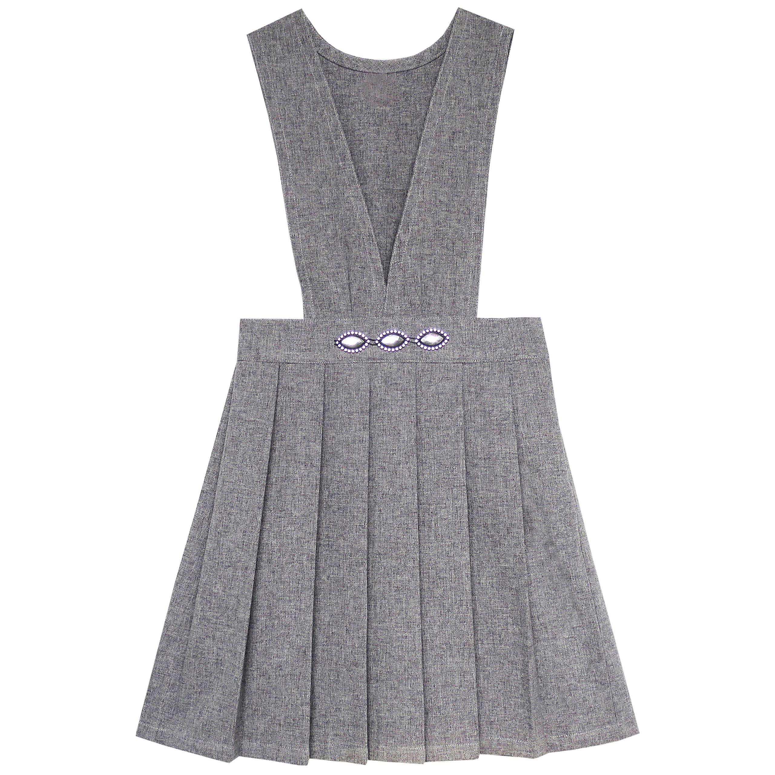 Sunny Fashion JX93 Girls Dress V Neck Pleated Hem School Size 8