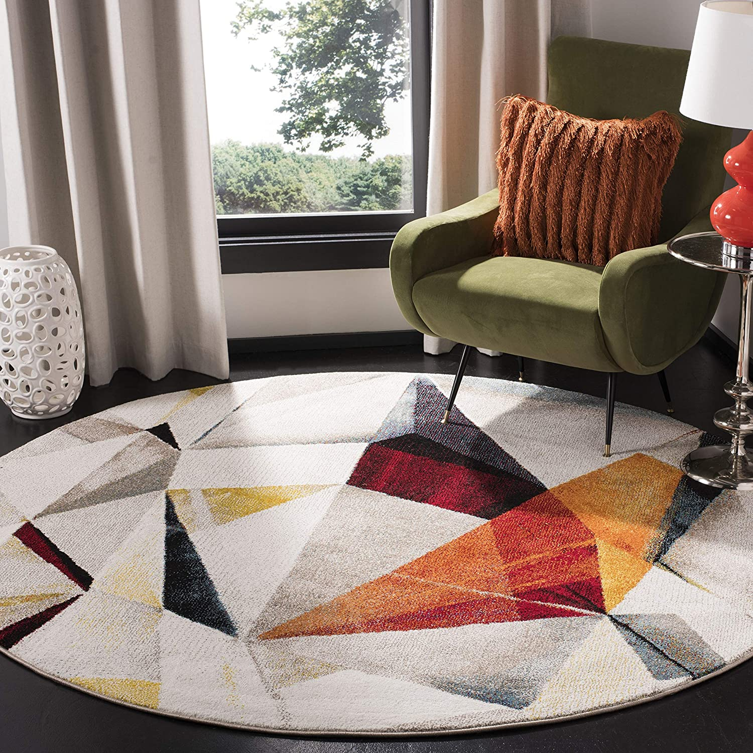 Amazon Com Safavieh Porcello Collection Prl6940f Modern Abstract Non Shedding Stain Resistant Living Room Bedroom Area Rug 6 7 X Round Light Grey Orange Furniture Decor
