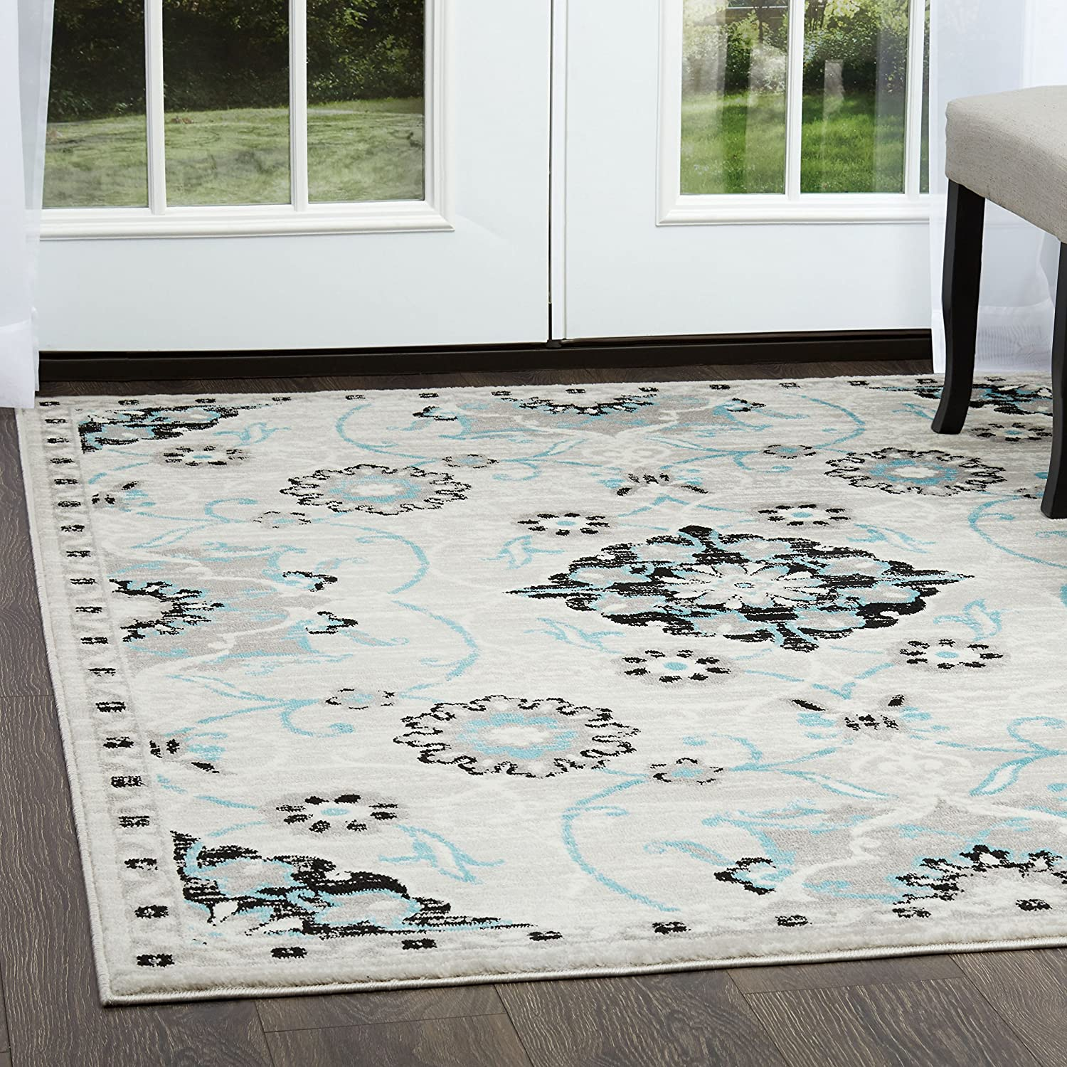 Home dynamix boho darcia area rug contemporary style all over swirl print persian inspired medallian design cozy texture silver bright blue