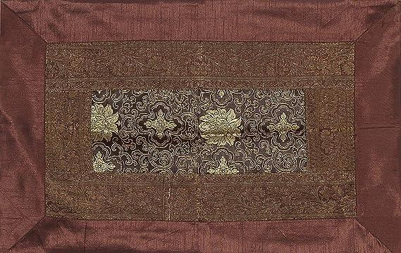 Buy Radhika Jaipur 100% Silk Color Brown Brocket with Zari Border