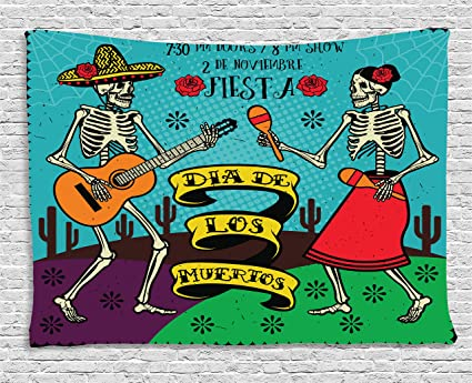 Ambesonne Day Of The Dead Decor Tapestry By Dia De Los Muertos Festive With Spanish