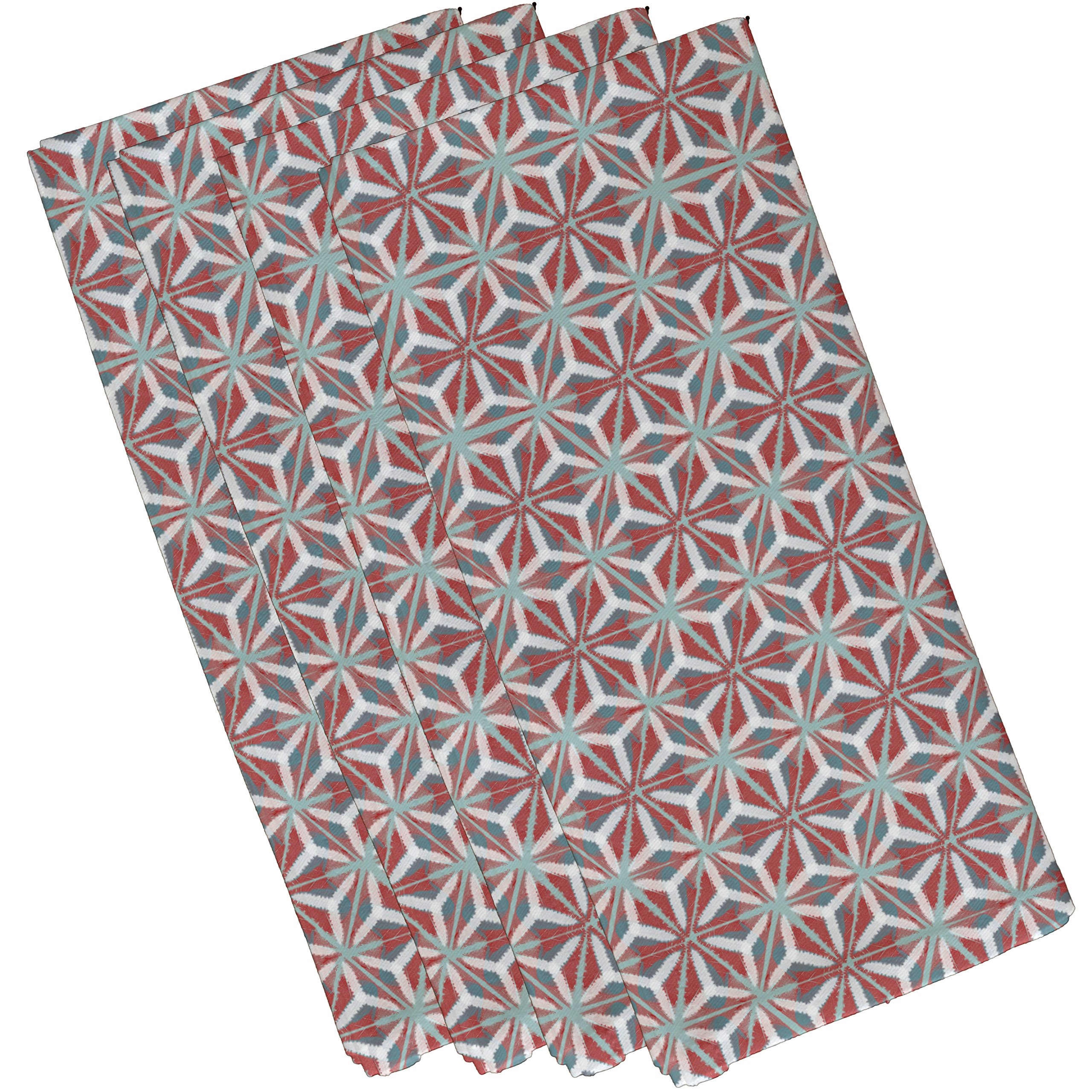 E by design N4G772OR15 Water Mosaic Geometric Print Napkin (Set of 4), 19'' x 19'', Coral by E by design
