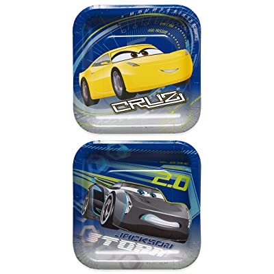 American Greetings Boys Cars 3 Dessert Square Plate(8 Count)