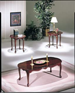 ACME 02402 Essex Coffee/End Table Set, 3 Piece, Cherry Finish