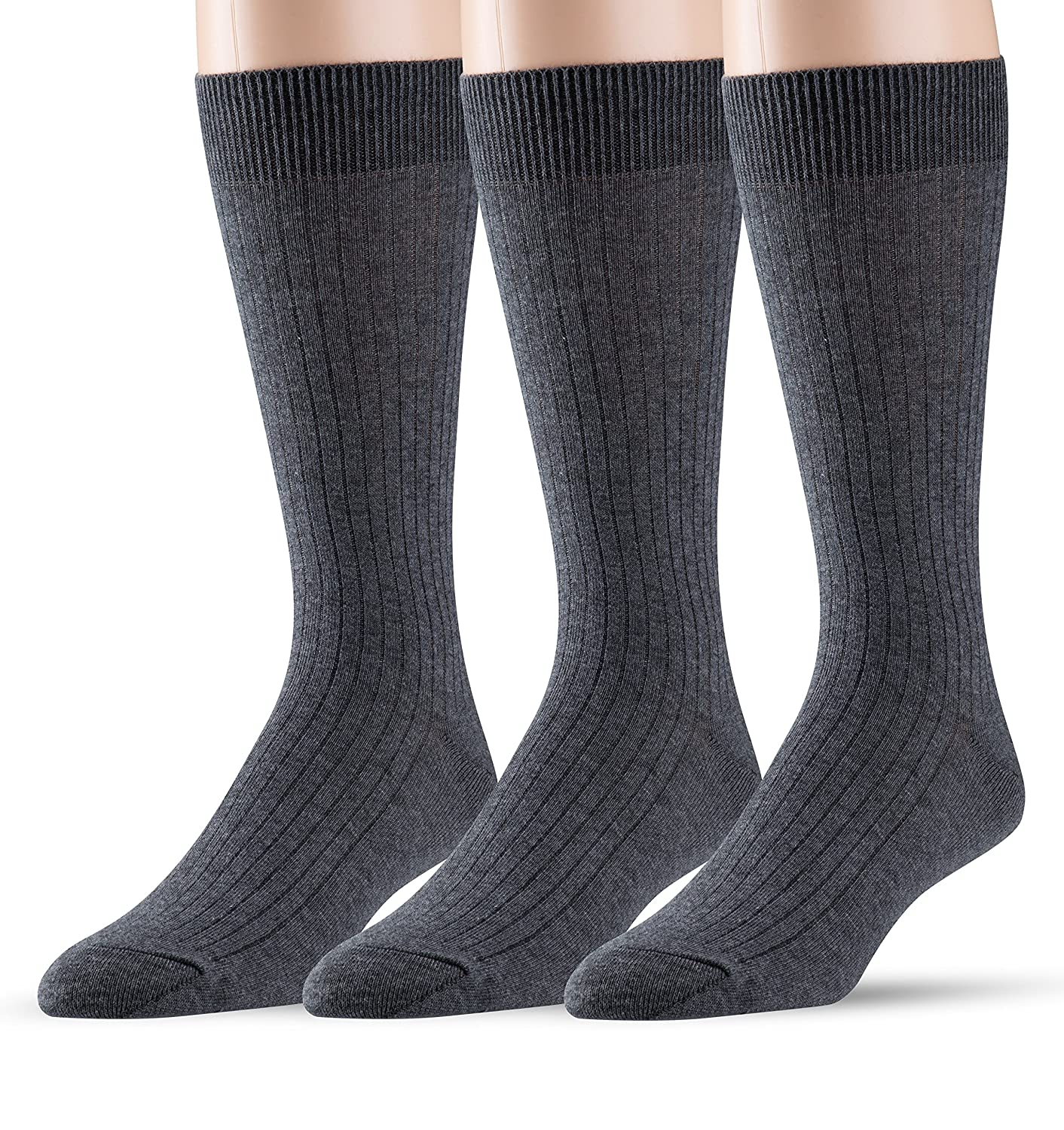 Big and Tall Available EMEM Mens Ribbed Cotton Classic Crew Dress Socks 3-Pack