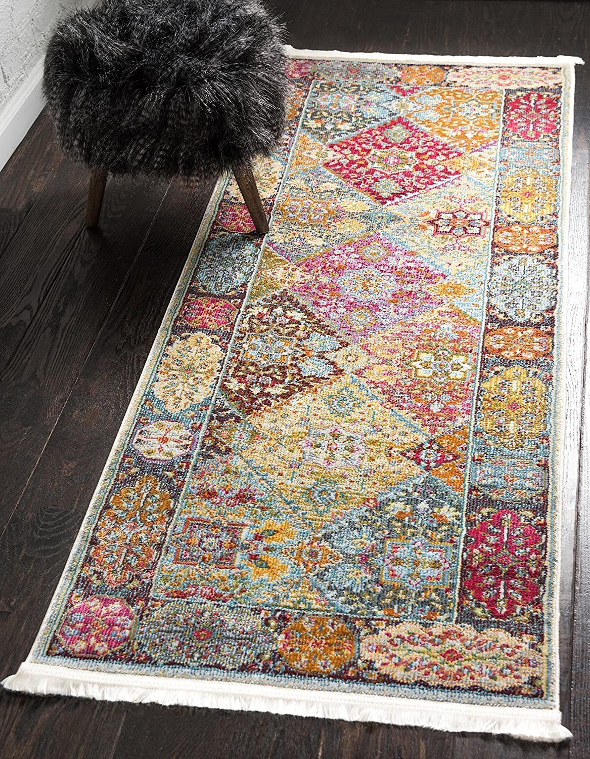 Unique Loom Baracoa Collection Bright Tones Vintage Traditional Multi Runner Rug (2' 2 x 6' 0)