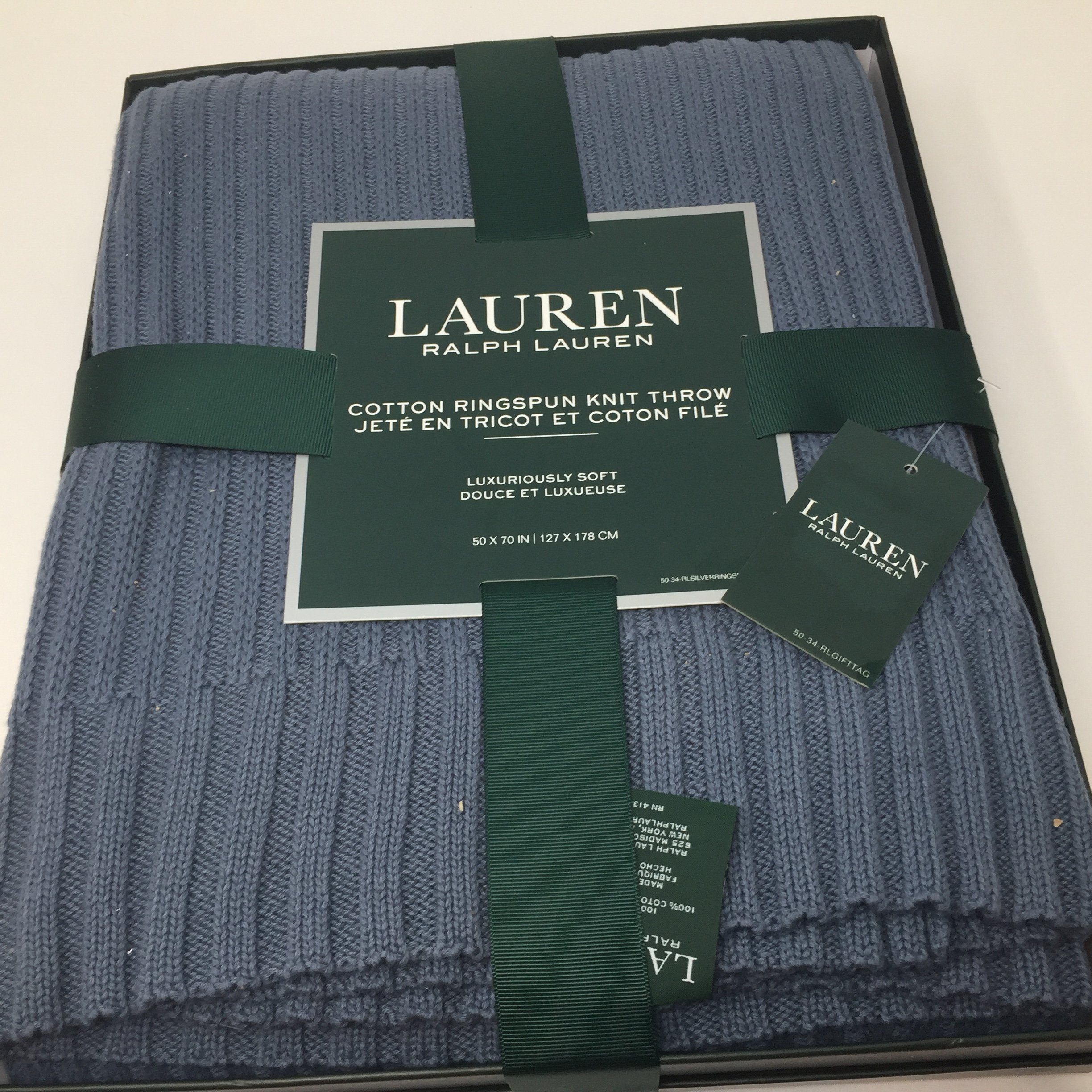 Ralph Lauren Cotton Throw Blanket 50 x 70 Cable Knit Heather Blue in RL Gift Box