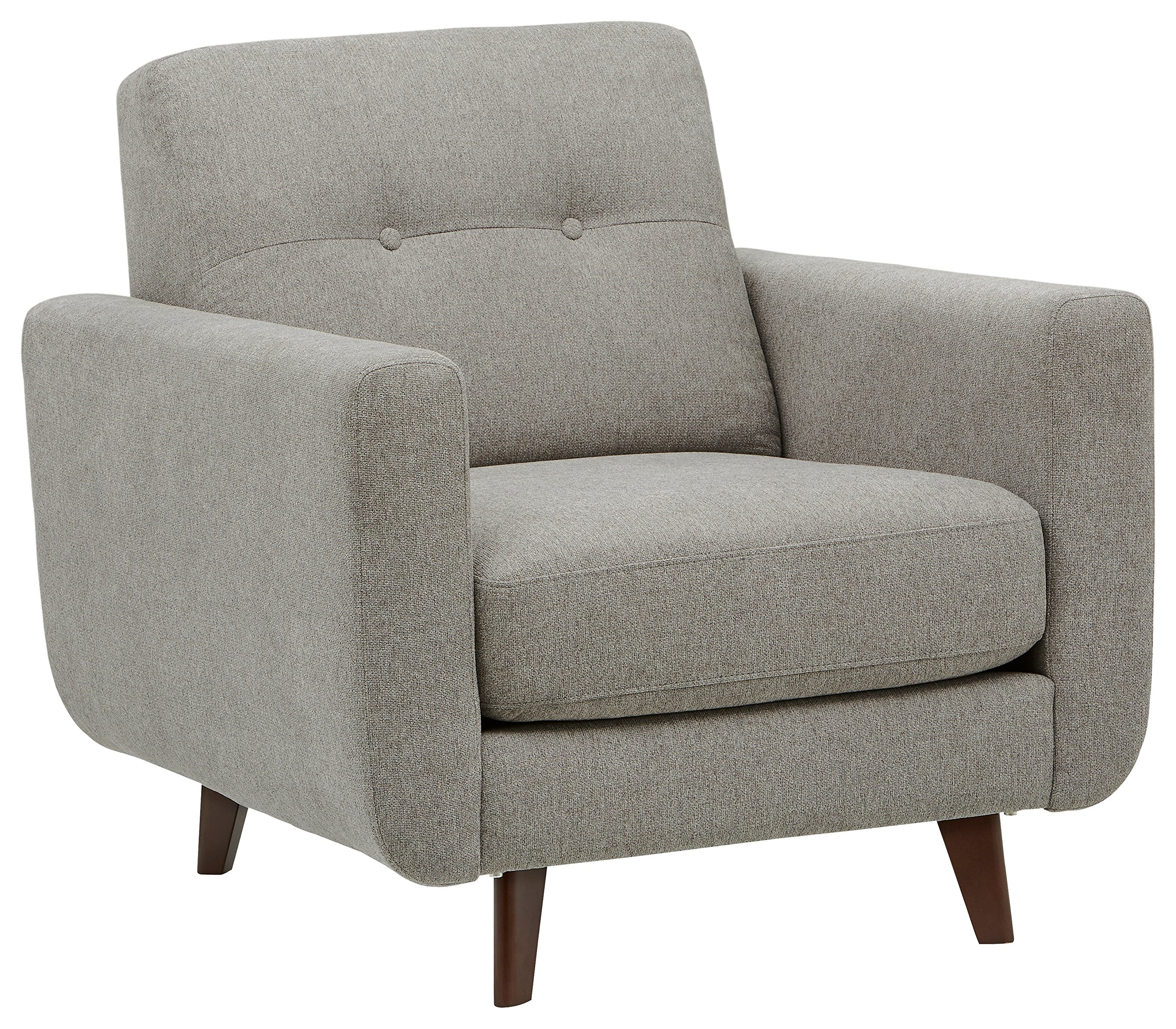 Rivet Sloane Mid-Century Modern Armchair with Tapered Legs, 32.7''W, Pebble by Rivet