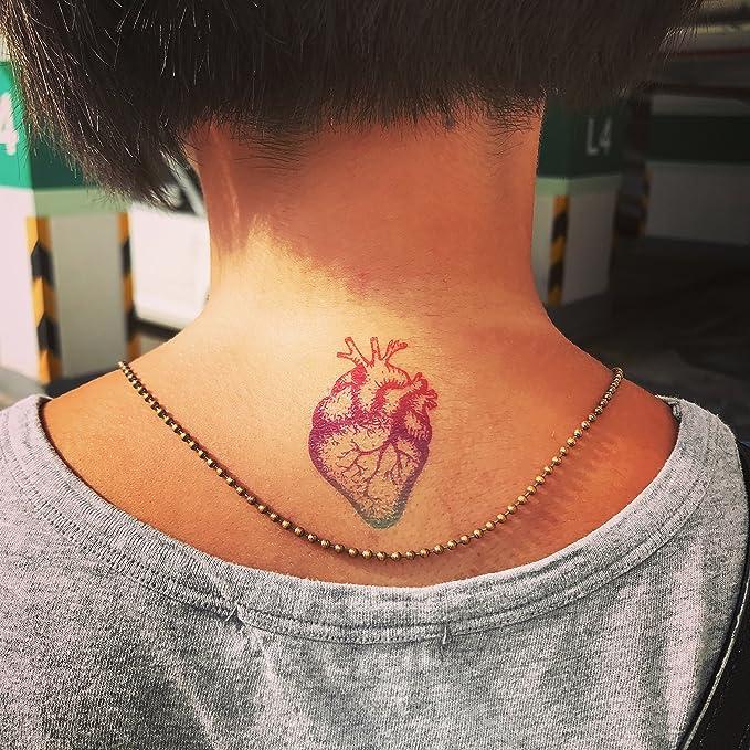 Tatuaje Temporal de Corazón anatómico del arco iris (2 Piezas ...