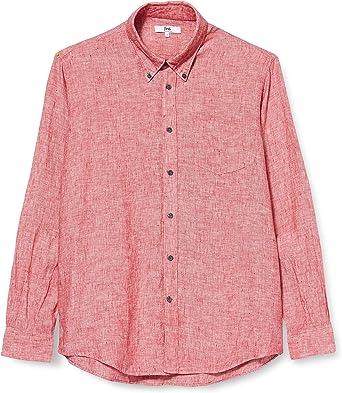 Marca Amazon - find. Camisa de Lino de Manga Larga Hombre, Rojo (Red), S, Label: S: Amazon.es: Ropa y accesorios