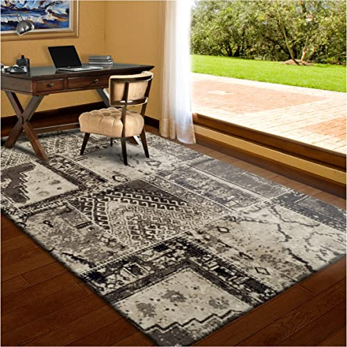 Superior Parquet Collection Area Rug, 8mm Pile Height with Jute Backing, Vintage Patchwork Persian Rug Design, Fashionable and Affordable Woven Rugs – 8 x 10 Rug, Ivory Brown