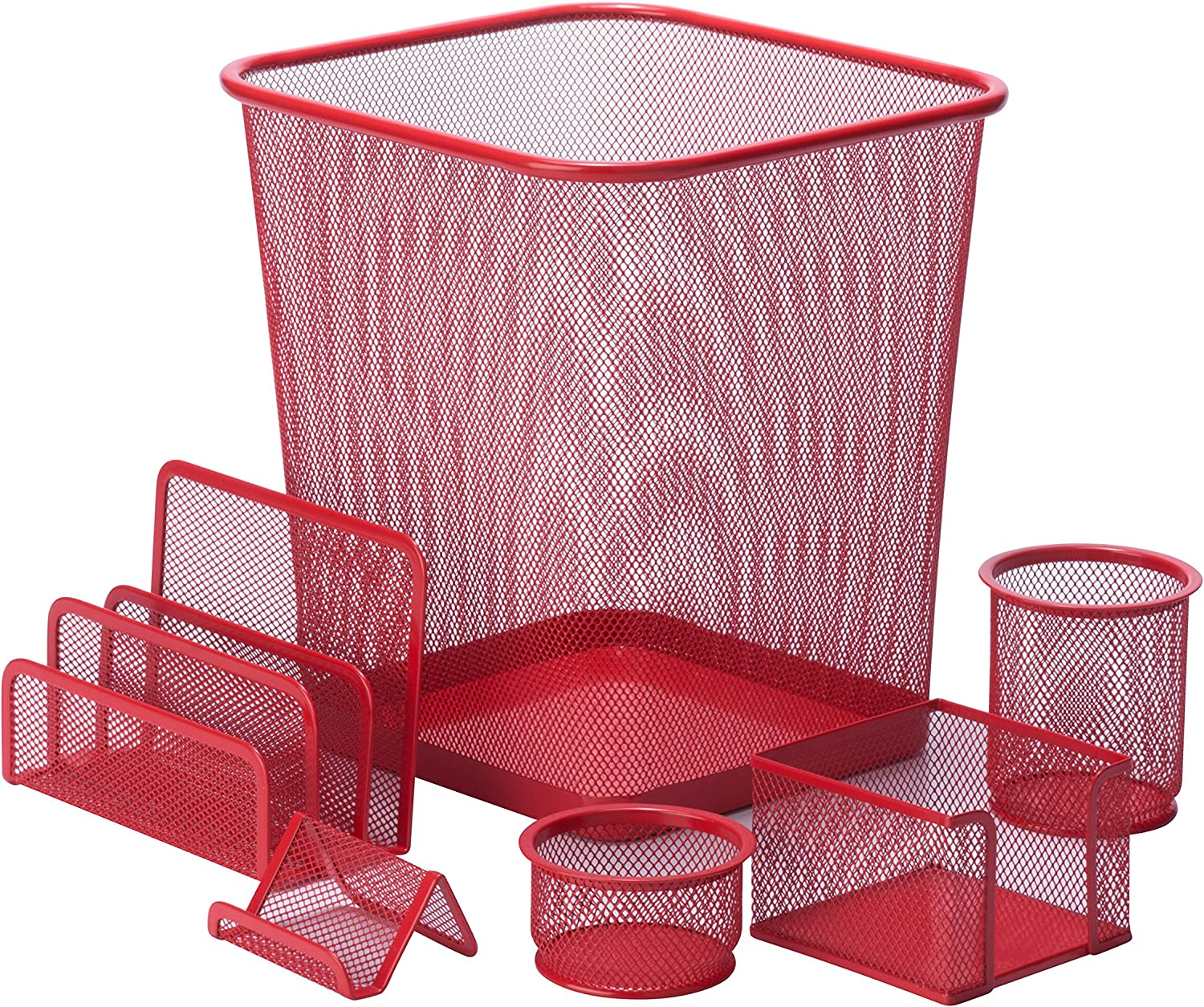 Honey-Can-Do 6-Piece Powder Coated Steel Mesh Desk Set, Red