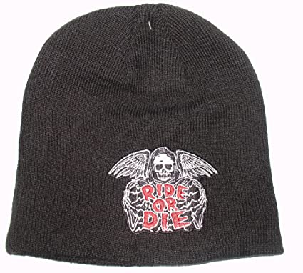 Amazon.com  Embroidered Ride or Die Grim Reaper Skull Beanie ... 49db8706cf8