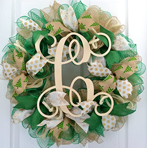Christmas Wreaths Ivory Burlap Emerald Green Monogram Initial Letter Front Door Wreath
